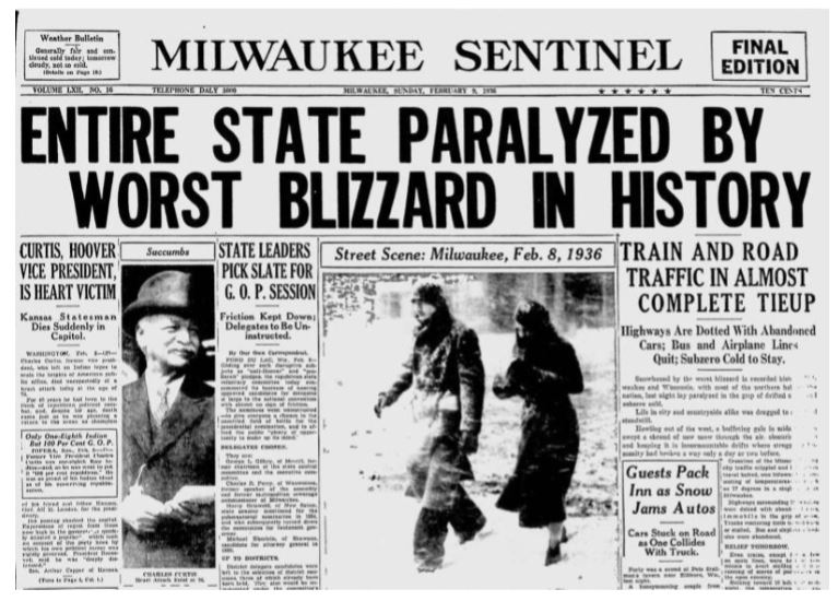 Blizzard headline in the Milwaukee Sentinel